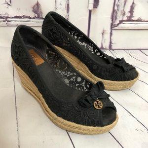 TORY BURCH black lace peep toe espadrille wedges 8